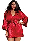 Dreamgirl Charmeuse Babydoll and Robe (3717) 3/4X/Red