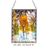 HF-260 Tiffany Style Stained Glass Drinking Cervus Nippon Rectangle Window Hanging Glass Panel Sun Catcher, 24''Hx18''W