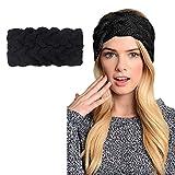 2 pack Womens Winter Knit Headband & Hairband Headwrap Hat Cap Ear Warmer (Black-C)