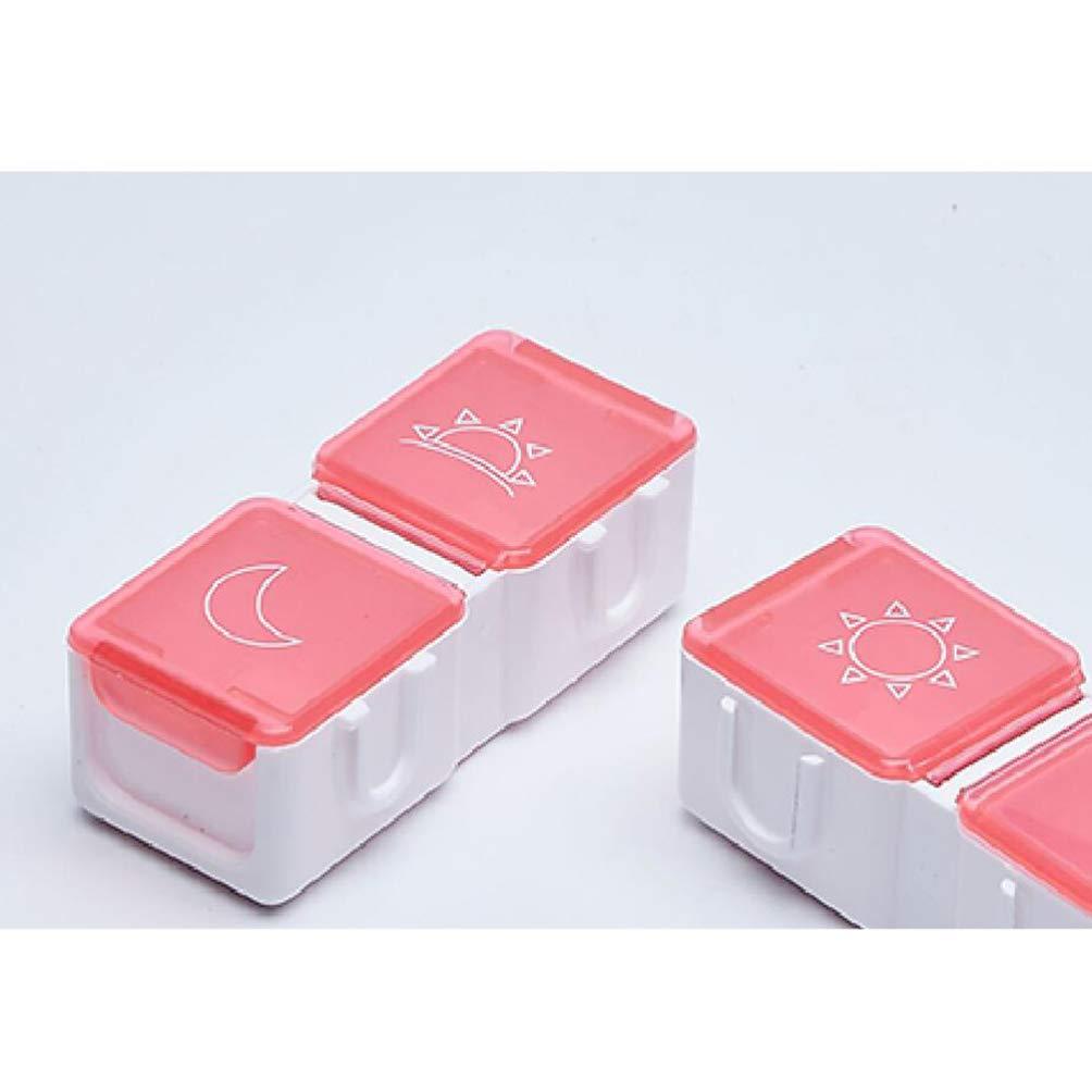 rosso Healifty Portapillole portatile 7 scomparti Portapillole con promemoria di allarme Portapillole portatile da viaggio Porta pillole con timer digitale senza batteria