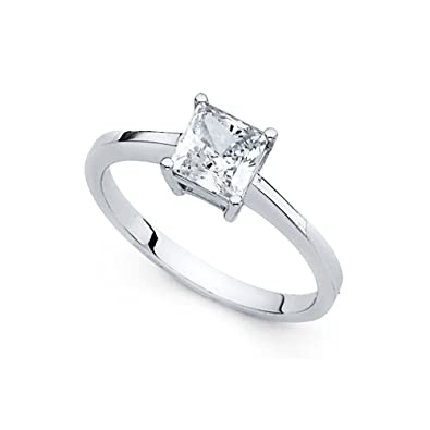 14k Yellow Or White Gold Princess Cz Single Stone Engagement Ring