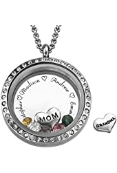 "Engraved Floating Charms Locket - ""For Mom or Grandma"" - Personalized with Birthstones"