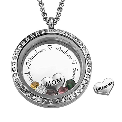 MyNameNecklace Floating Family Charms Custom Personalized Engraved Locket - for Mom or Grandma with CZ Birthstones - Great ()