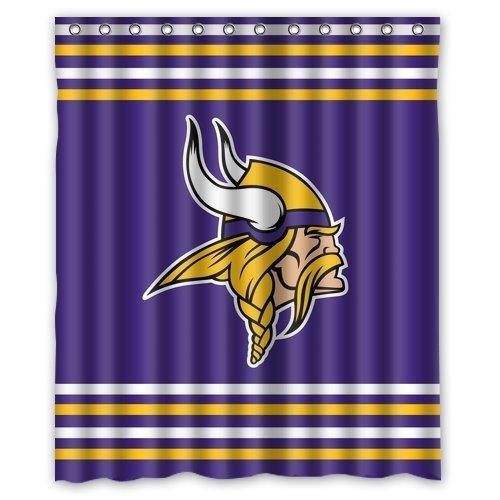 Custom NFL Minnesota Vikings Waterproof Polyester Shower Curtain 60x72