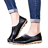 Women's Leather Loafers Casual Round Toe Slip-On
