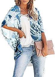 Women Floral Kimono Cardigan - Casual Chiffon Kimonos Tops Boho Loose Blouse Open Front Swinsuit Beach Cover U