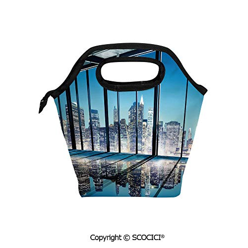 Reusable Insulated Lunch Bags with Pocket Office Cityscape Buildings with Glassy Interior Room Image Photo for Adults Kids Boys Girls.