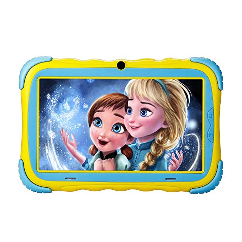 Kids Tablet - Android 7.1 Tablet PC with 7 inch IPS Eye Protection Screen 1GB+16GB WiFi Camera and Bluetooth GMS Certified Kids-Proof Children Tablets (Yellow)