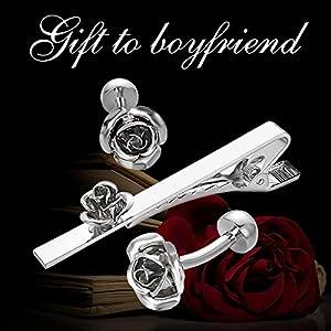 Yoursfs Rose Tie Clip Cufflinks Set Vintage Grey Flower Cuff Buttons Plain Necktie Clasp Valentines Day