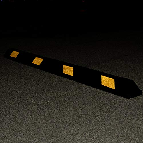 Fullstop Vehicle Parking Block, Black Commercial Heavy Duty Rubber Curb with 8 ScatterGlass Reflective Yellow Targets for Car, Truck, RV and Trailer Stop Aid, 72 Inches Long x 4 Inches High by Fullstop (Image #5)
