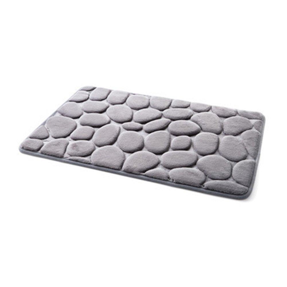 吸収性Cobblestoneラグ、ノンスリップメモリーフォームフロアマットソフト天然ランナー洗濯可能カーペット、キッチンシャワーバスルームホームデコレーション(サイズ: W 15.75