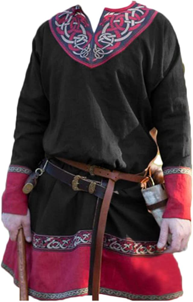 Shaoyao Mens Medieval Tunic Renaissance Costume Retro Printed Long Sleeves V-Neck T-Shirts Blouses Tops Without Belt
