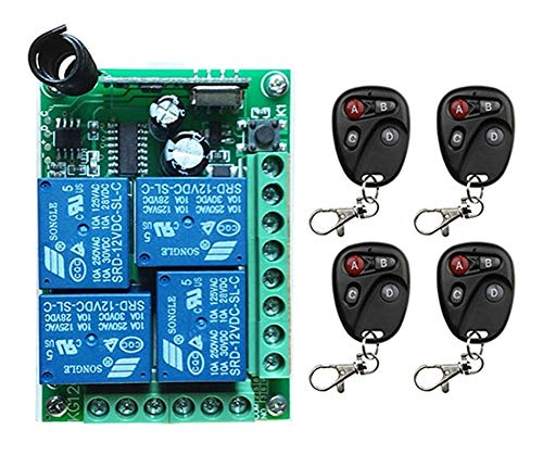 D DC12V 4CH 10A Radio Controller RF Wireless Push Remote Control Switch 433 MHZ 2 Transmitter +1 Receiver Garage Door Window lamp  (color  B)