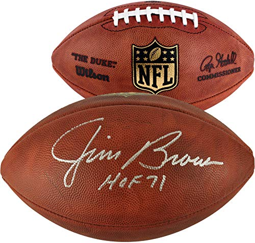 Jim Brown Cleveland Browns Autographed Duke Pro Football with HOF 71 Inscription - Fanatics Authentic - Football Brown Autographed