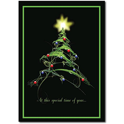 "Christmas Holiday Greeting Card H6027. Stylized Christmas Tree and the ""Special time of Year"" presents a dramatic intro into the verse inside. Red foil-lined envelopes are included."