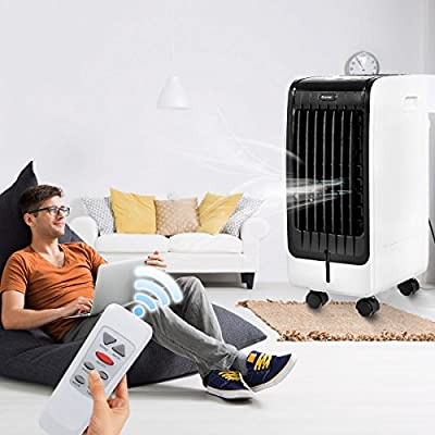 COSTWAY Air Cooler, Portable Evaporative Air Cooler with Fan & Humidifier Bladeless Quiet Electric Fan w/Remote Control for Indoor Home Office Dorms