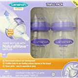 Lansinoh mOmma Breastmilk Feeding Bottle with NaturalWave Nipple, 8 Ounce, 3 Count, BPA Free and BPS Free