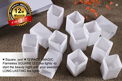 (12 PACK) Flameless Square LED tea lights , Amagic Tealight Battery Candles Electric Flickering Lights for Wedding, Thanksgiving, Christmas, Home Decor, Warm White, Middle Size