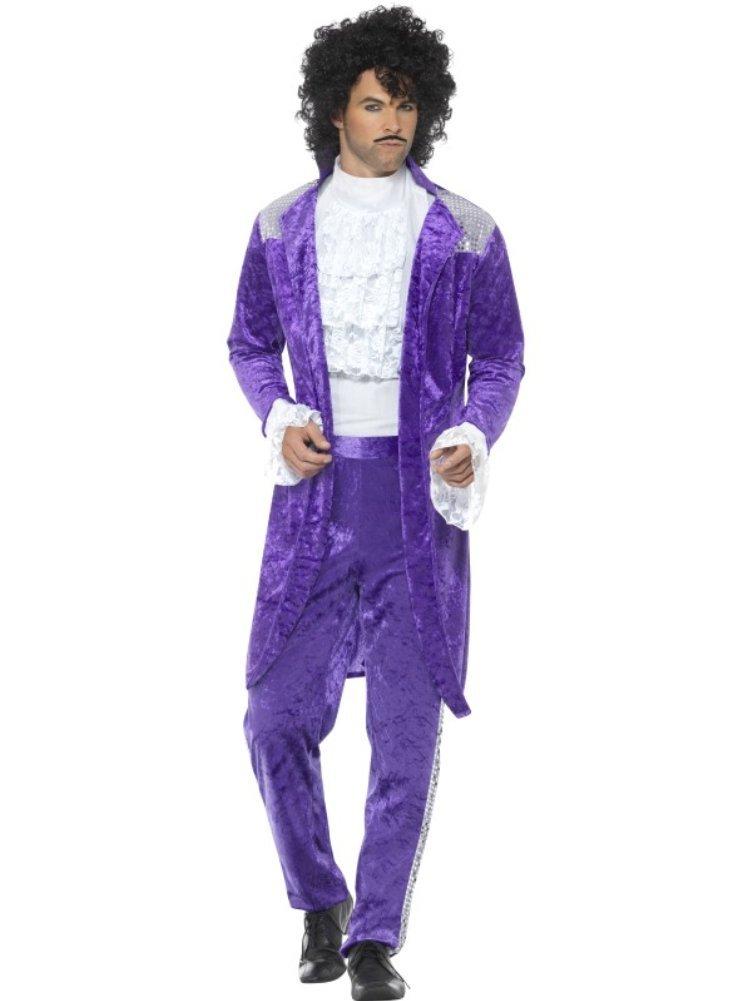 Smiffys Smiffys-48004XL Disfraz de Músico Púrpura años 80, con Chaqueta, Camisa figurada y Pant, Color, XL-Tamaño 46
