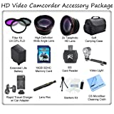 Ultimate HD Video Accessory Package For The Panasonic AG-HMC150 Camcorder. Includes 3 Piece Filter Kit, Wide Angle Lens, Telephoto Lens, Soft Carrying Case, 16GB SDHC Memory Card, SD Card Reader, Panasonic VW-VBG260 Replacement Battery, Rapid Travel Charg