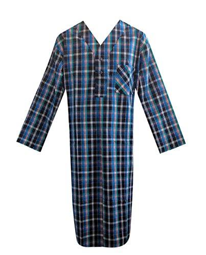 Stafford Cotton Long Sleeve Woven Nightshirt (Medium, Blue Large Plaid) by Stafford