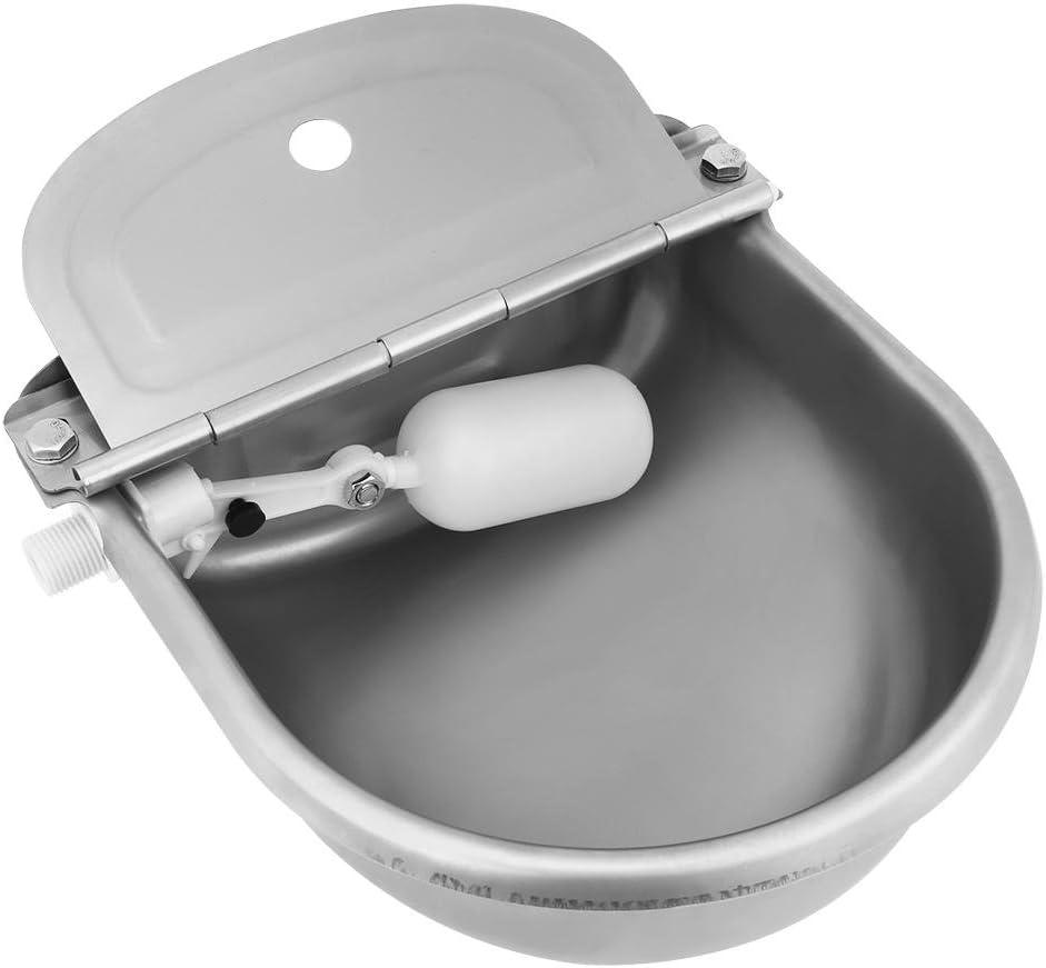 EBTOOLS Bebedero Flotante de Acero Inoxidable de Flotando en el Agua para Ganado Oveja Caballo Cabra Abrevadero Cuenco para Beber Automático con Boya Valvula Plastica Resistente a la Corrosión 4L