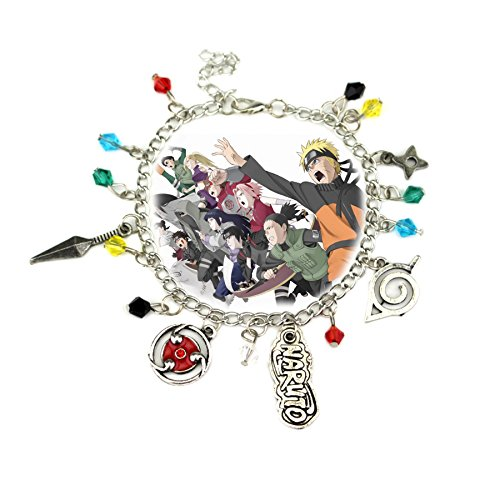 Blue Heron Naruto 5 Logo Charms Lobster Clasp Bracelet w/Gift Box (Dad Narutos)