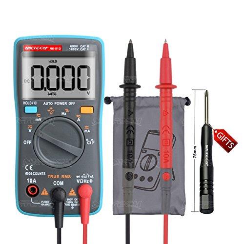 NKTECH NK-51D True RMS Multímetro digital de bolsillo de rango automático retroiluminado Temperatura -20-1000 ℃ Voltaje CA CC Resistencia de corriente Capacitancia Frecuencia Diodo Continuidad Prueba de ciclo de trabajo 6K Conteos