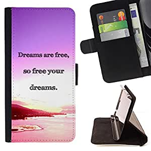 DEVIL CASE - FOR HTC One M8 - Dreams Ocean Purple Pink Sunset - Style PU Leather Case Wallet Flip Stand Flap Closure Cover