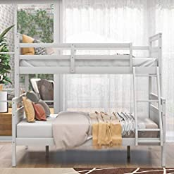 Bedroom Bunk Bed, Twin Over Full Bunk Beds, Solid Wood Bunk Bed Frame with Guard Rails and Ladder for Kids Boys Girls Teens… bunk beds