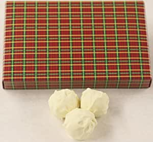 Scott's Cakes Tropical Fruit Mix-Mango, Guava, and Passion Fruit White Chocolate Truffles in a 1 Pound Christmas Plaid Box