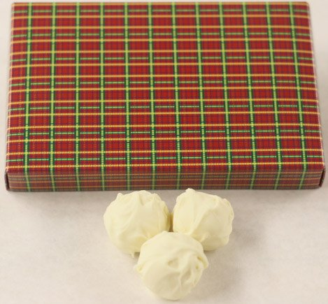 Scott's Cakes Pure White Chocolate Covered Lemon Fruit Truffles in a 8 oz. Christmas Plaid Box