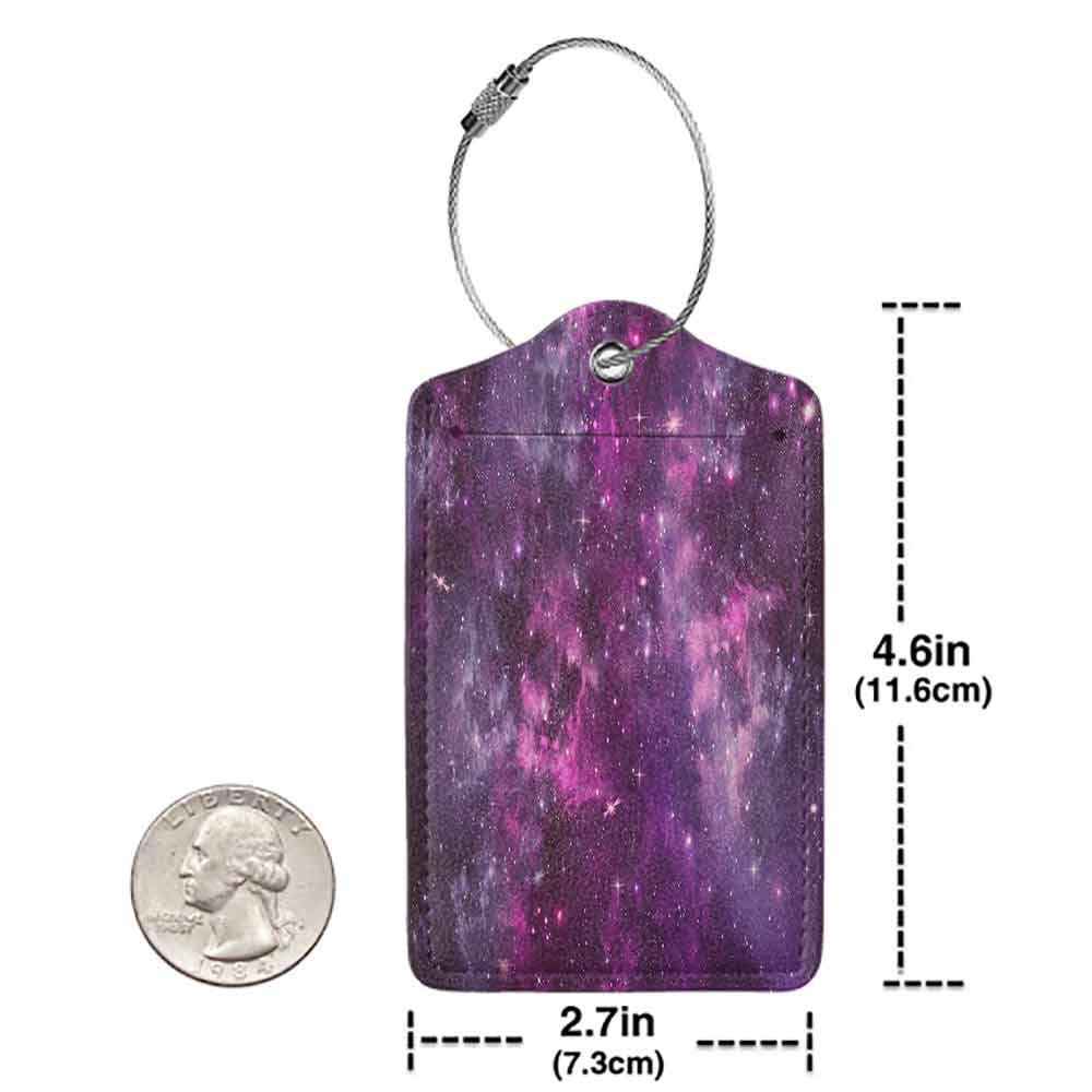 Small luggage tag Purple Decor Collection Nebula Gas Cloud Deep Dark in Outer Space with Star Clusters Galaxy Infinity Solar Sky Print Quickly find the suitcase Purple W2.7 x L4.6