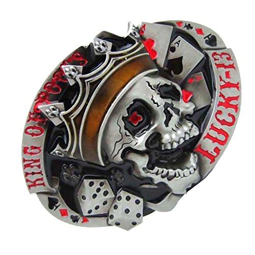 Prettyia Vintage Dice Skull Tattoo Poker Casino Belt Buckle Metal Fashion Men Western Belt Buckle Oval Belt Buckle - Red, as described (Dice Belt Buckle)
