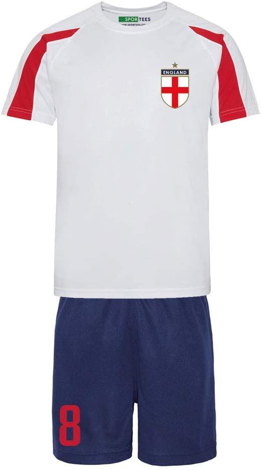 White And Blue England Style Home Football Supporters Kit Bundle Shirt Kids Personalised Red Socks And Customisable Bag Shorts