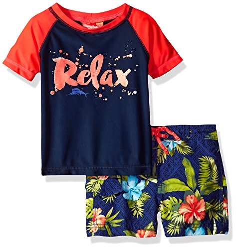 - Tommy Bahama Baby Boys' Relax Sleeve Rash Guard Palm Leaves Swim Short Set, Navy, 24M