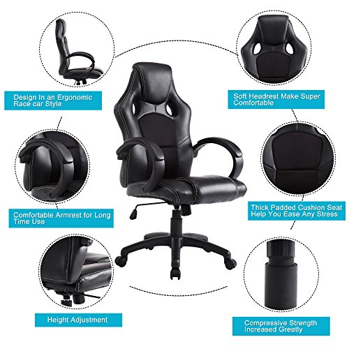 Acepro Office Executive Chair Desk Chairs Computer Chair PU Leather High Back Tall Chair for Office Ergonomic Racing Gaming Swivel Adjustable Chair, (Seating Executive Office Chair)