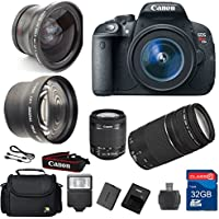 Canon T5i DSLR Camera + 18-55mm IS STM Lens + 75-300mm III Telephoto Lens + Wide Angle Lens +Telephoto Lens + 32GB Memory + Flash - International Version