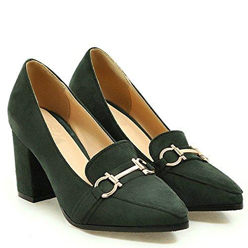 Shoes toe High Metal Charm Green AIWEIYi Heel Square Pumps Women Pointed PpqTz