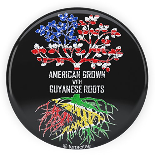 Tenacitee American Grown with Guyanese Roots Pinback Button, 2.25