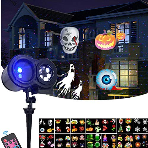 Laser+Projection (2 in 1), Red & Blue Laser Light Combine with 14 Side Projector light Remote Control Outdoor Indoor for Christmas Halloween Birthday, Wedding, Party, Bar, Holiday ()