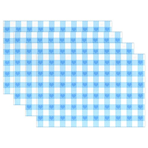 - My Daily Blue Gingham Check Stripe with Heart Placemats for Dining Table Set of 4 Heat Resistant Washable Polyester Kitchen Table Mats