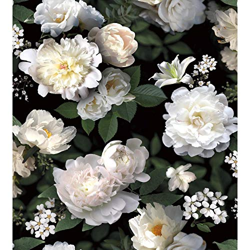 RoomMates Black Photographic Floral Peel and Stick Wallpaper Mural