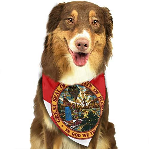 Flag of Florida Flag of Florida Pet Bandana Washable Reversible Triangle Bibs Scarf - Kerchief for Small/Medium/Large Dogs & Cats