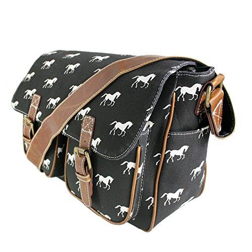 Canvas Body Black Messenger Shoulder Lulu Ladies Bag Cross School Satchel Horse Miss zWtFPq6