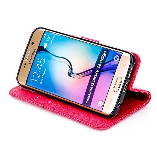JIALUN-Personality teléfono shell Para la cubierta de la caja del borde de la galaxia S6 de Samsung, con la ranura para tarjeta, acollador, hebilla magnética Embossed Abra el teléfono hermoso Shell Se Red