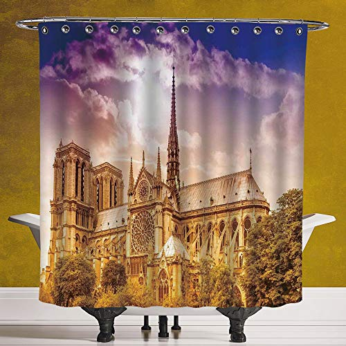 SCOCICI Cool Shower Curtain 3.0 [ Paris Decor,Notre Dame Cathedral Paris Parisian Gothic Trees Forest Sunshines Cloudy Sky, Digital Print Polyester Fabric Bathroom Set -