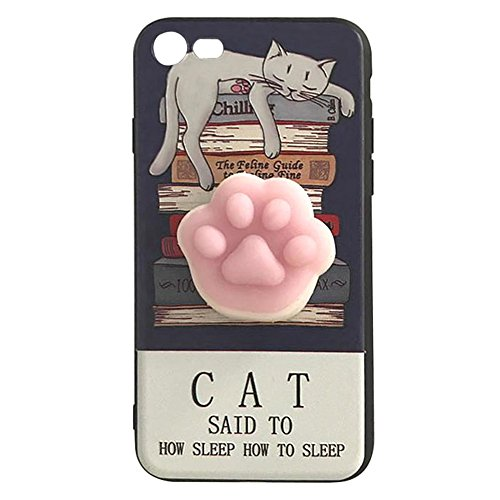 Pinzhi 3D Nice Soft Silicone Pappy Squishy Cat pour iphone 7 Housse Case Cat Claw Phone Case Style D