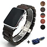 Seoaura Compatible Apple Watch Band 38mm 40mm, Natural Handmade Wooden Replacement iWatch Series 4 3 2 1 Sports Strap Wristband - Link Remover as a Gift (Dark Brown, 42mm/44mm)