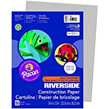 "Riverside 3D Construction Paper, Gray, 9"" x 12"", 50 Sheets"